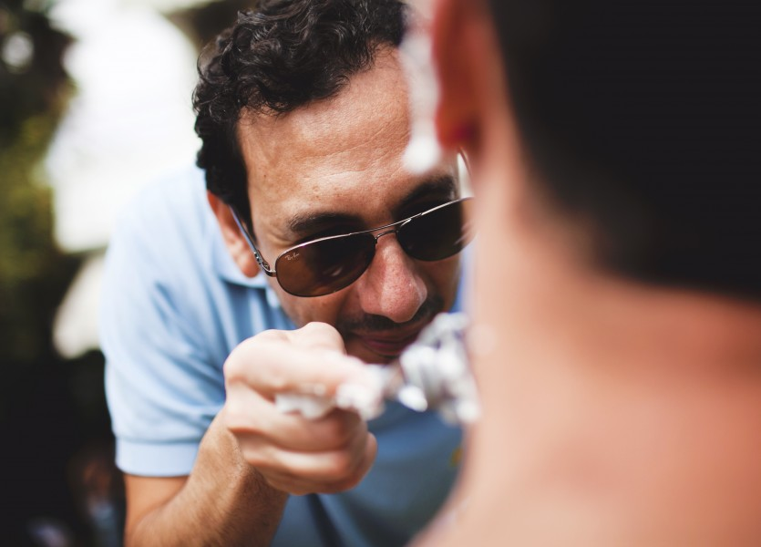 Shaving the Groom before the Wedding