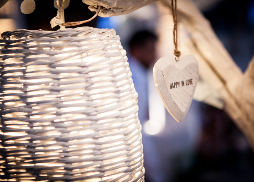 Wooden lanterns and Wooden Hearts Beach Wedding in Naxos