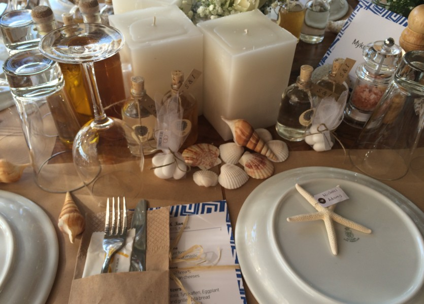 Sea shells table decoration for beach wedding