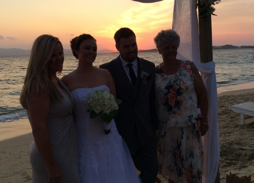 Wedding by the sunset in Greece