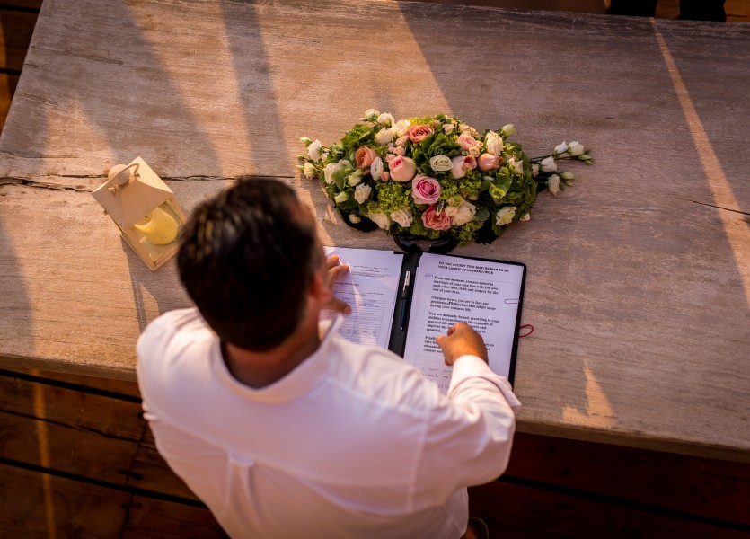 Registrar in Hydra Wedding