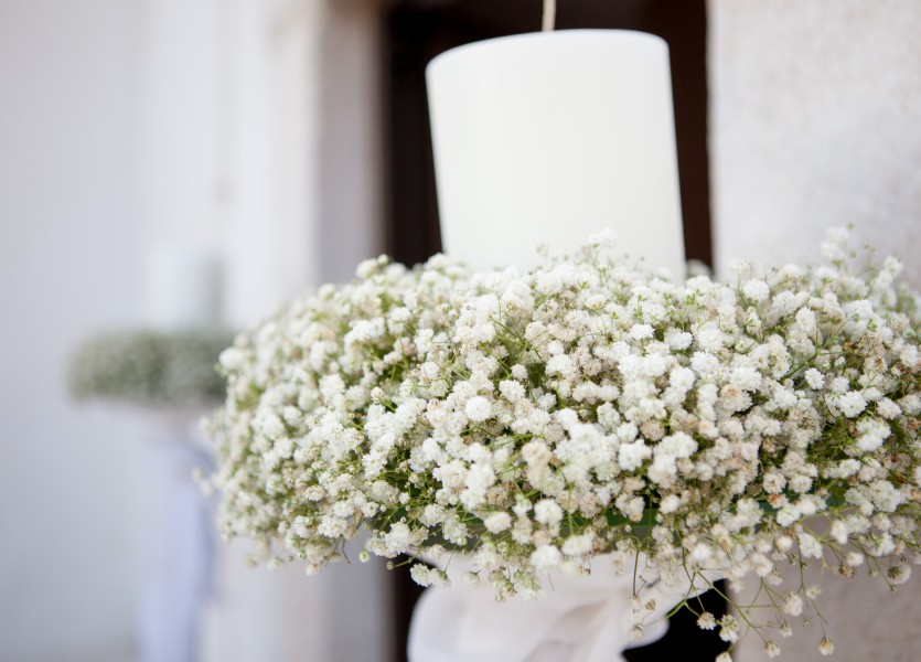 Orthodox Wedding Candles with babies breath in Naxos