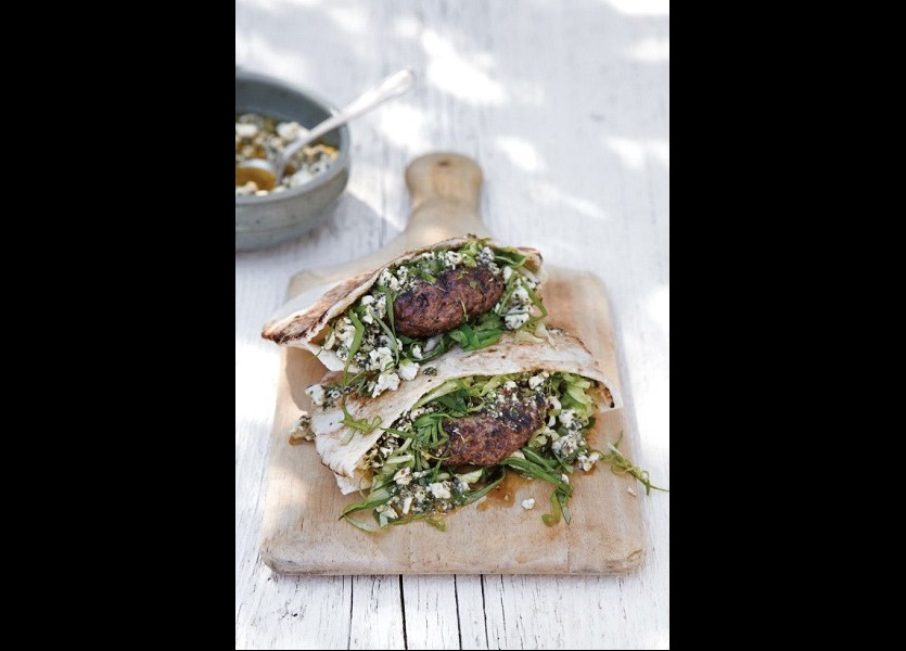 Burgers with feta cheese, mints and pita bread Wedding Menu in Chalkidiki