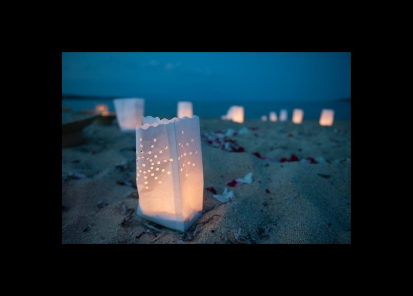 Candle Bags for Beach Wedding Decoration in Chalkidiki