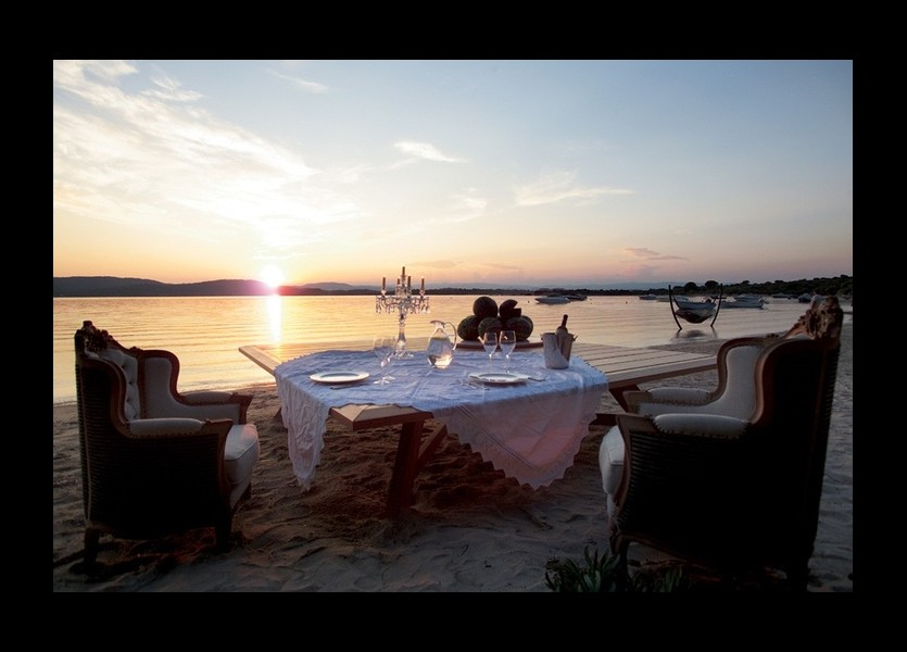 Romantic Wedding Dinner on Sunset at Ekies Chalkidiki Wedding