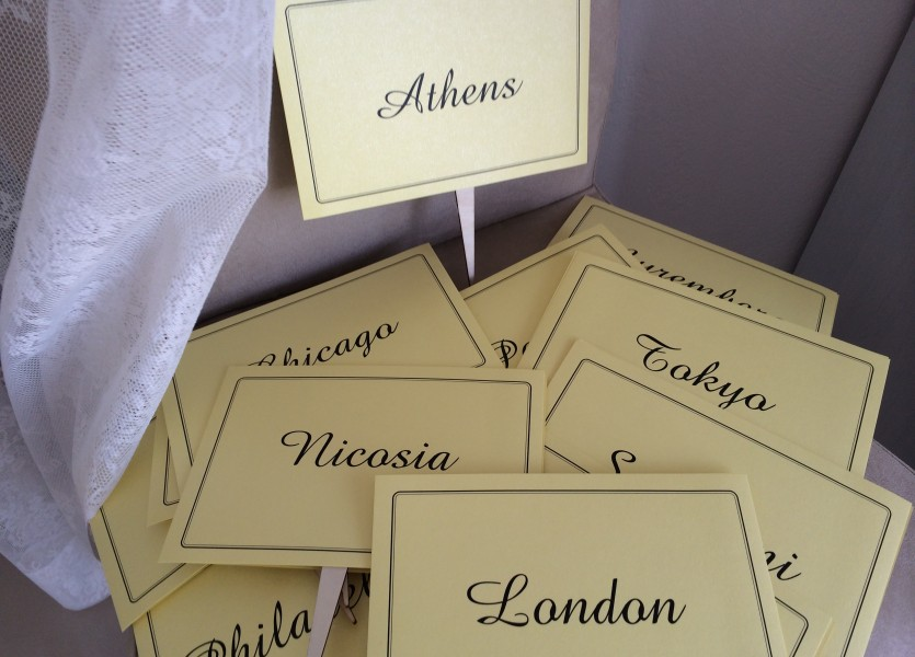 Cities the couple visited as Table Numbers