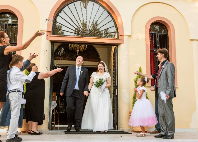 Throwing Rice in Greek Orthodox Wedding