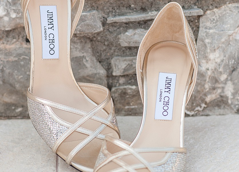 Golden Pip toe bridal shoes