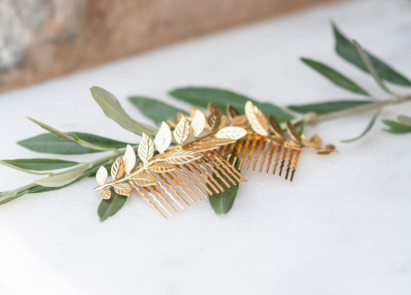 Golden Olive branches for hair accessories