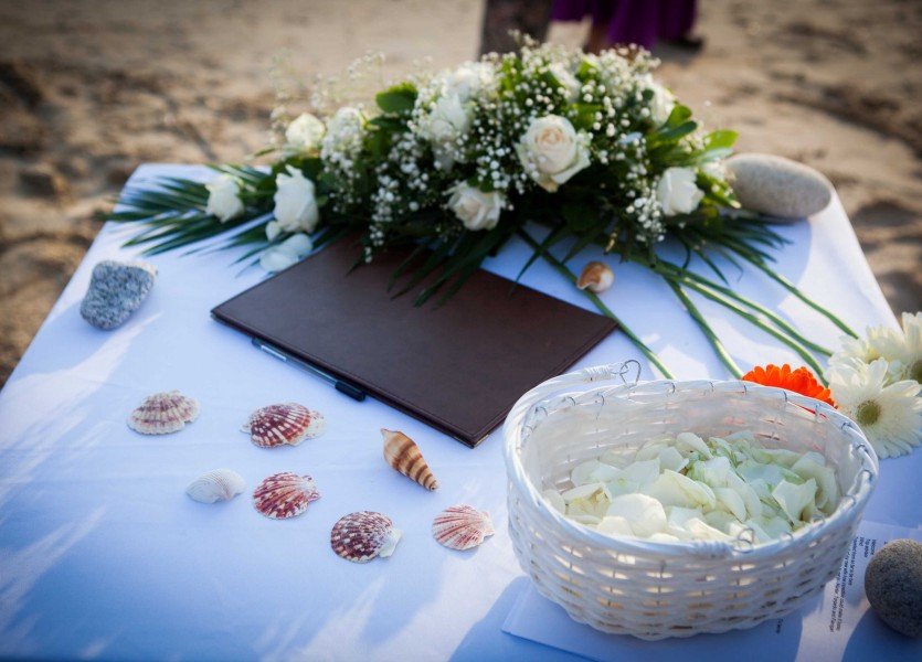Ceremony table for beach wedding in Naxos