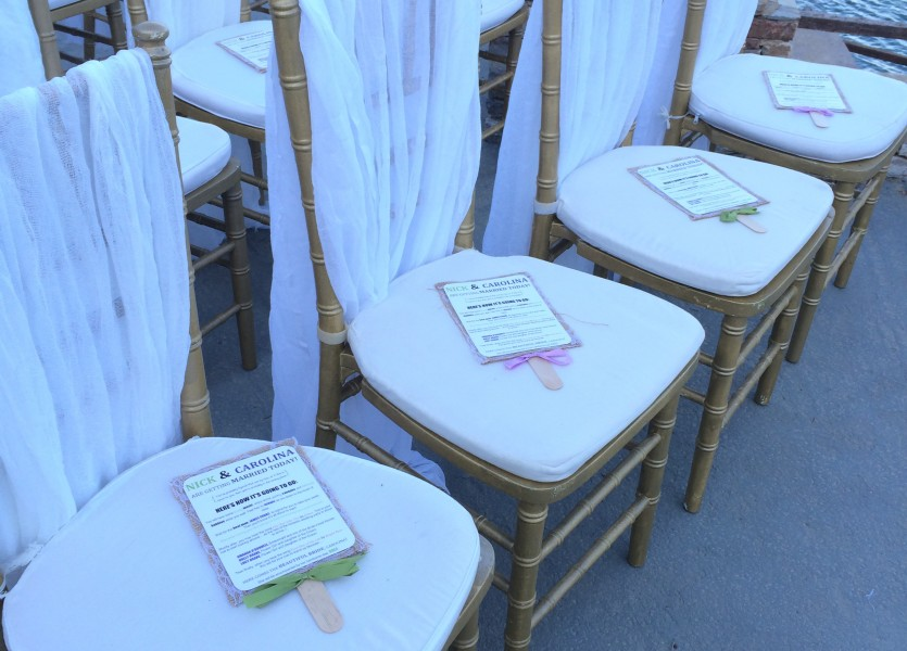 Fans and Order of Service. Beach Wedding in Sifnos.